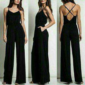 Pants - Solid jumpsuit  - BLACK